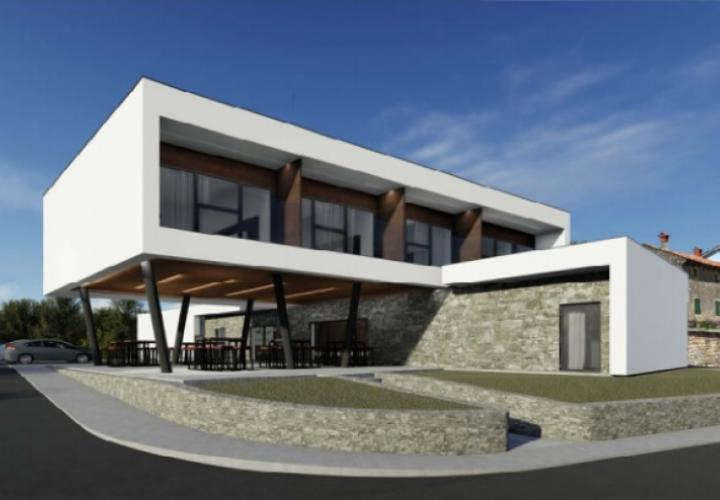 Project for 7 luxury villas and 4**** star hotel with complete building documentation, Buje area