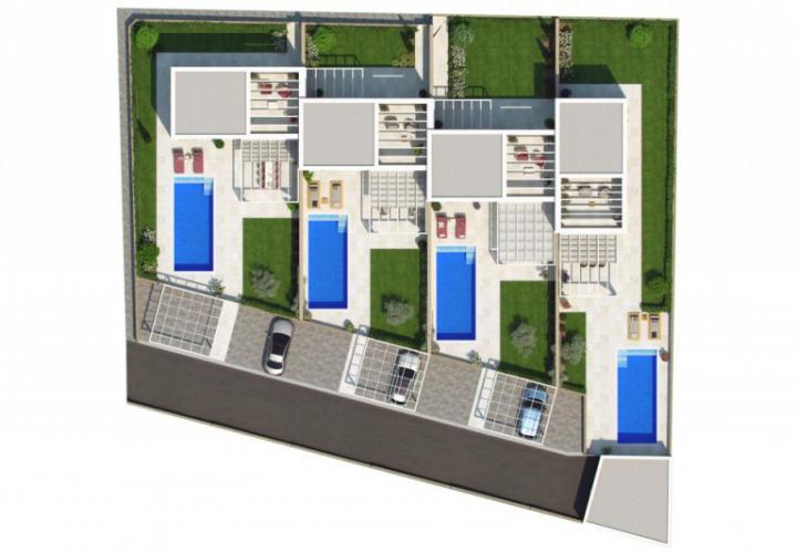 Новые пристроенные виллы с бассейном всего в 700 метрах от моря в Замбратии, всего в 9 км от словенской границы