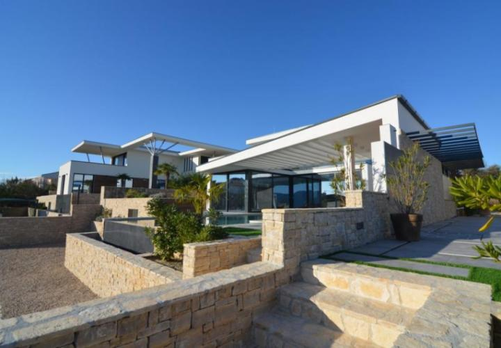 New urban villa with pool and sea view, Krk