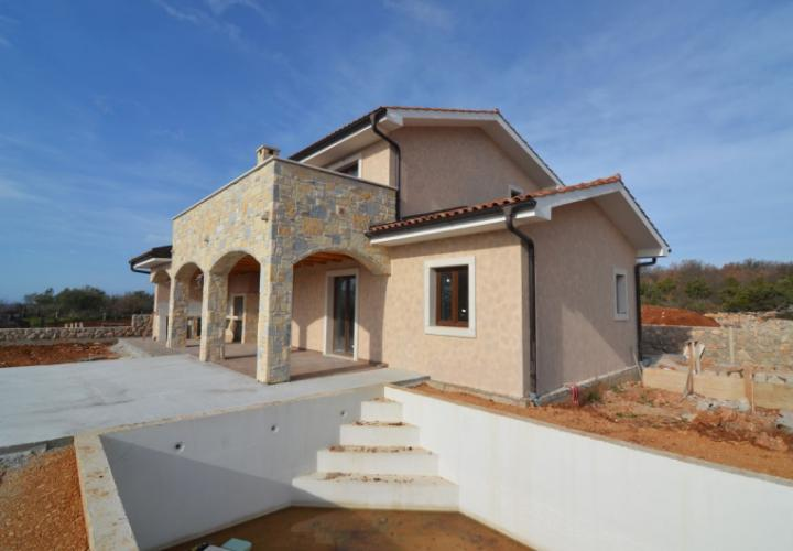 New stone villa with pool and panoramic sea view, Krk