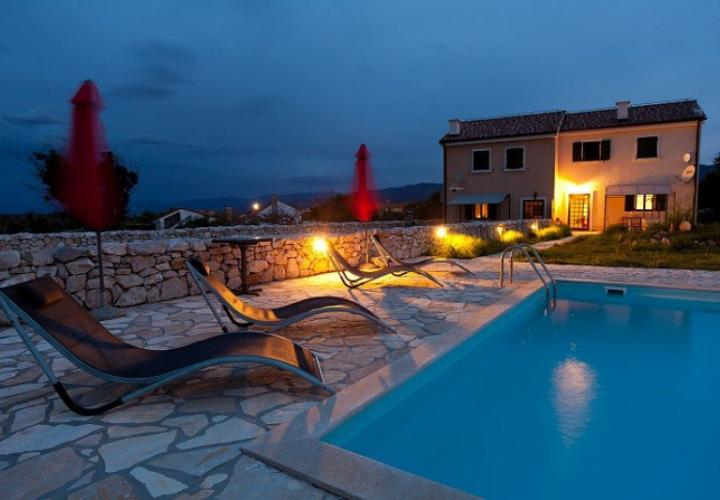 Nicely renovated old stone villa with pool just 200 meters from the sea on Krk