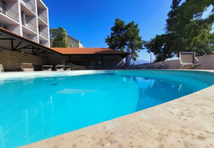 Lovely first line hotel of 45 rooms (121 beds) on Korcula for sale first line to the sea, rent also possible