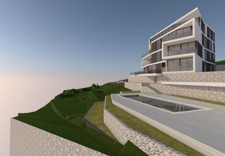 Modern building of 8 apartments with pool in Opatija