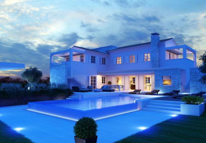 New villa with a pool and sea view, Porec