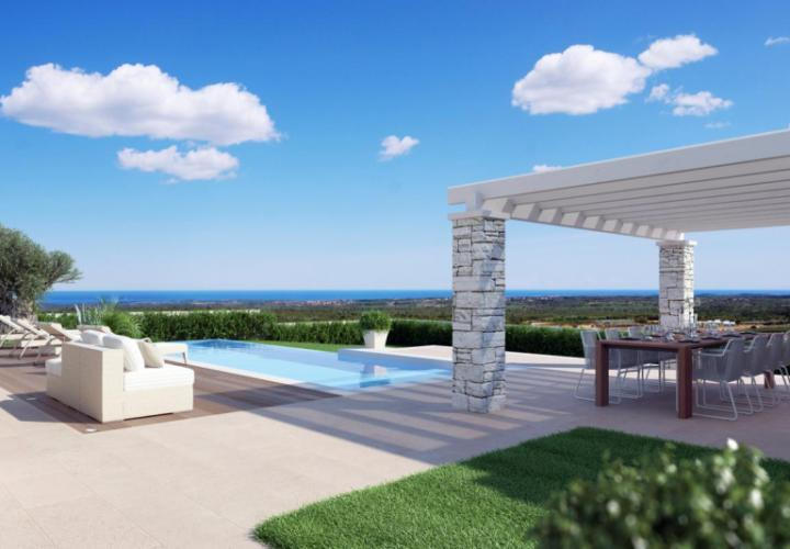 New modern villa with a pool and sea view near Porec