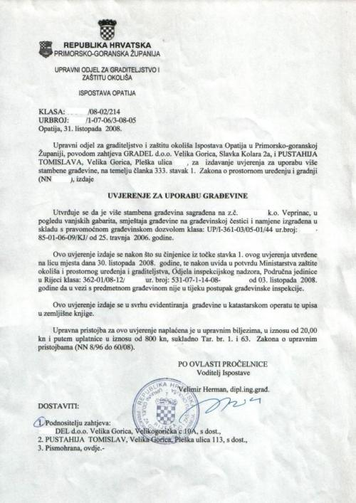 Usage Permit in Croatia
